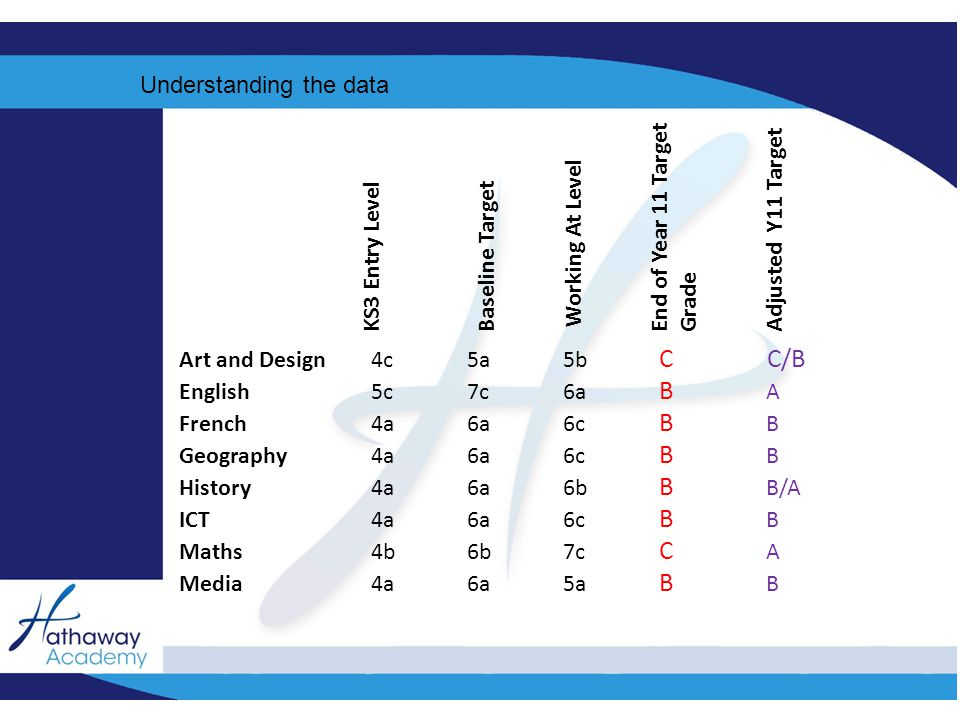 Understanding the data Art and Design4c5a5b C C/B English5c7c6a B A French4a6a6c B B Geography4a6a6c B B History4a6a6b B B/A ICT4a6a6c B B Maths4b6b7c C A Media4a6a5a B B KS3 Entry Level Baseline Target Working At Level End of Year 11 Target Grade Adjusted Y11 Target