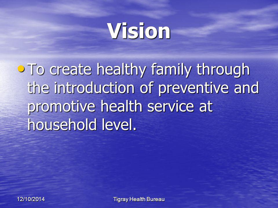 12/10/2014Tigray Health Bureau Vision To create healthy family through the introduction of preventive and promotive health service at household level.