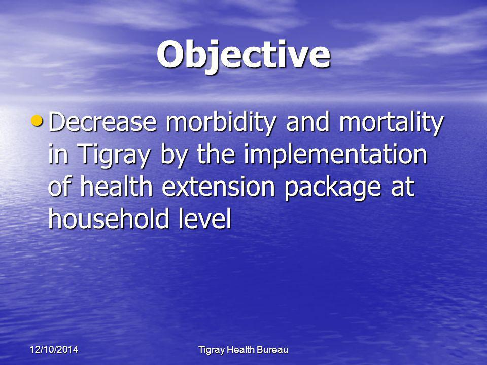 12/10/2014Tigray Health Bureau Objective Decrease morbidity and mortality in Tigray by the implementation of health extension package at household level Decrease morbidity and mortality in Tigray by the implementation of health extension package at household level