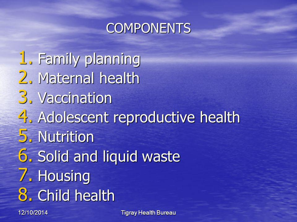 12/10/2014Tigray Health Bureau COMPONENTS 1. Family planning 2.