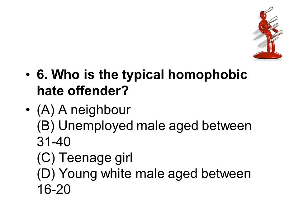 6. Who is the typical homophobic hate offender? (A) A neighbour (B) Unemployed male aged between 31-40 (C) Teenage girl (D) Young white male aged betw
