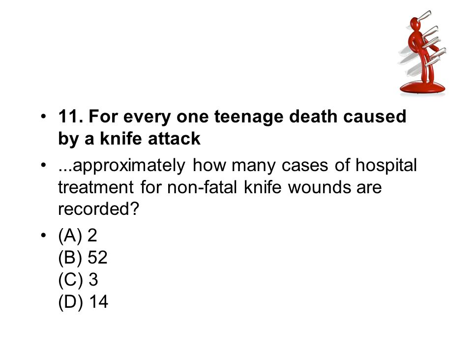 11. For every one teenage death caused by a knife attack...approximately how many cases of hospital treatment for non-fatal knife wounds are recorded?