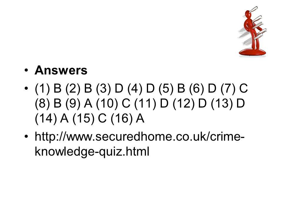 Answers (1) B (2) B (3) D (4) D (5) B (6) D (7) C (8) B (9) A (10) C (11) D (12) D (13) D (14) A (15) C (16) A http://www.securedhome.co.uk/crime- kno