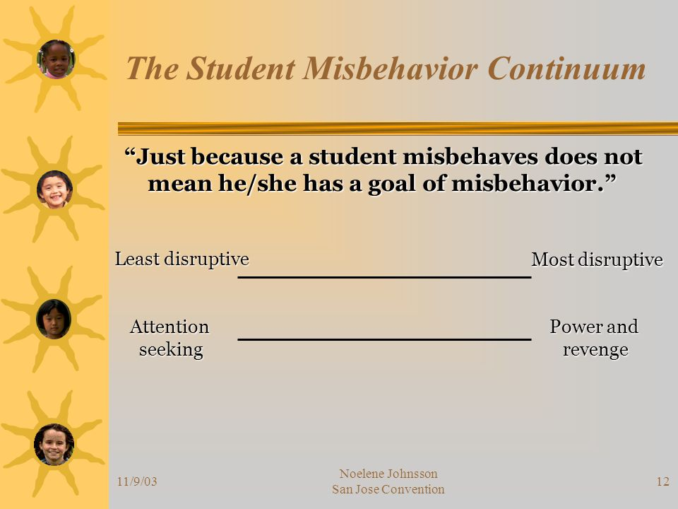 11/9/03 Noelene Johnsson San Jose Convention 12 The Student Misbehavior Continuum Just because a student misbehaves does not mean he/she has a goal of misbehavior. mean he/she has a goal of misbehavior. Least disruptive Most disruptive Attention Attention seeking seeking Power and revenge revenge