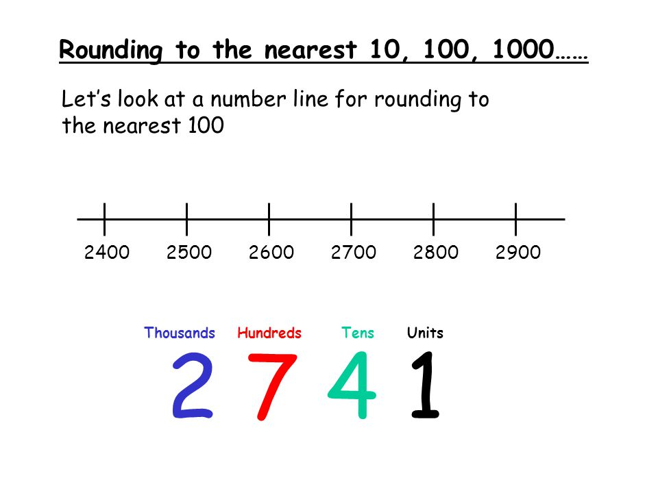 Rounding to the nearest 10, 100, 1000…… Let's look at a number line for rounding to the nearest 100 2 7 4 1 ThousandsHundredsTensUnits 240025002600270028002900