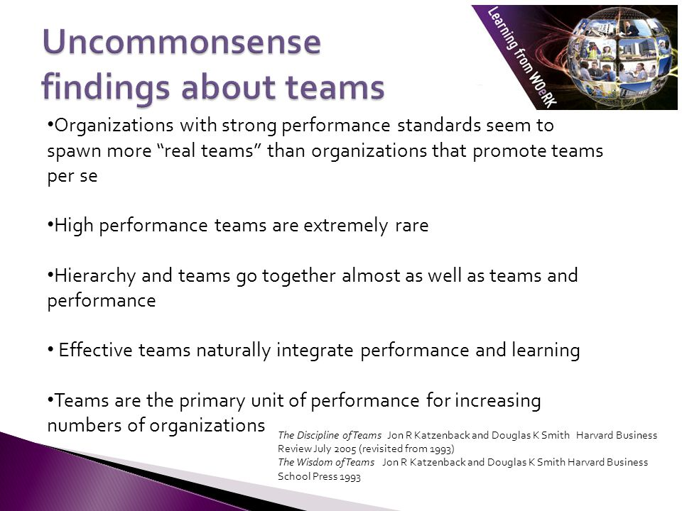Organizations with strong performance standards seem to spawn more real teams than organizations that promote teams per se High performance teams are extremely rare Hierarchy and teams go together almost as well as teams and performance Effective teams naturally integrate performance and learning Teams are the primary unit of performance for increasing numbers of organizations The Discipline of Teams Jon R Katzenback and Douglas K Smith Harvard Business Review July 2005 (revisited from 1993) The Wisdom of Teams Jon R Katzenback and Douglas K Smith Harvard Business School Press 1993