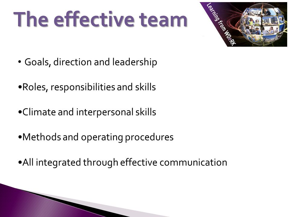Goals, direction and leadership Roles, responsibilities and skills Climate and interpersonal skills Methods and operating procedures All integrated through effective communication The effective team