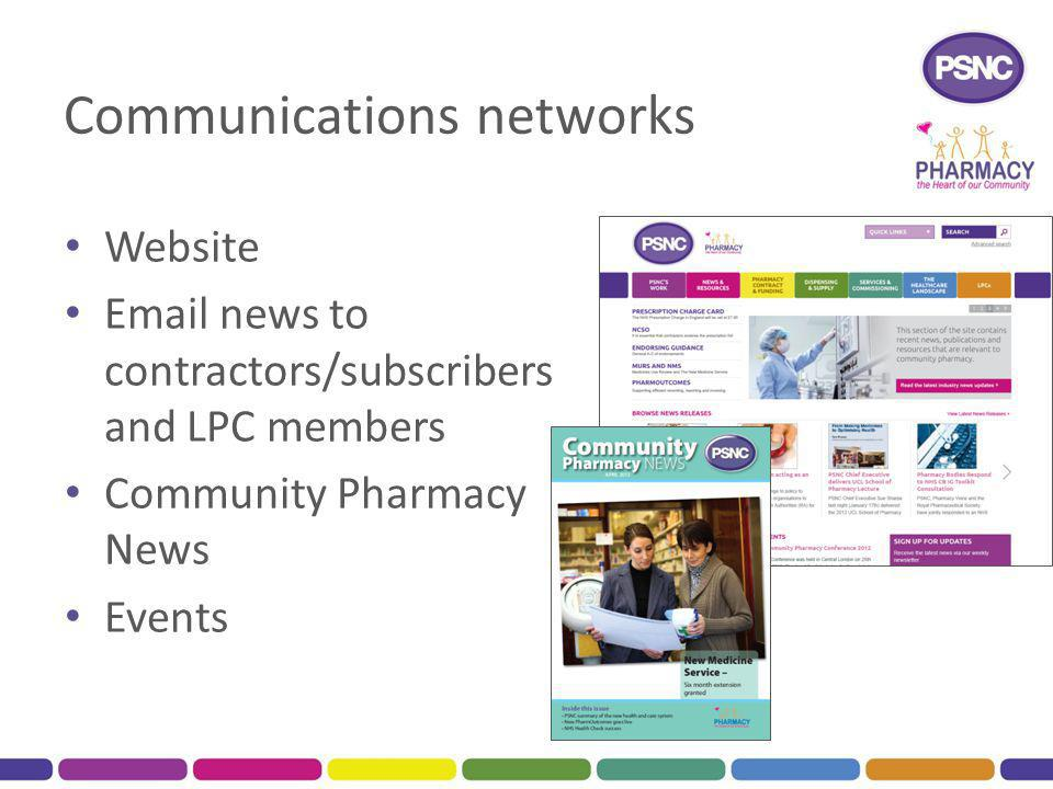 Communications networks Website Email news to contractors/subscribers and LPC members Community Pharmacy News Events