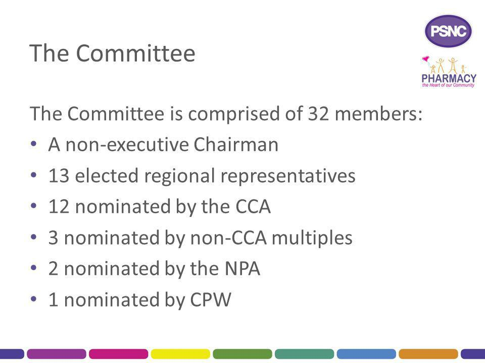 The Committee The Committee is comprised of 32 members: A non-executive Chairman 13 elected regional representatives 12 nominated by the CCA 3 nominated by non-CCA multiples 2 nominated by the NPA 1 nominated by CPW