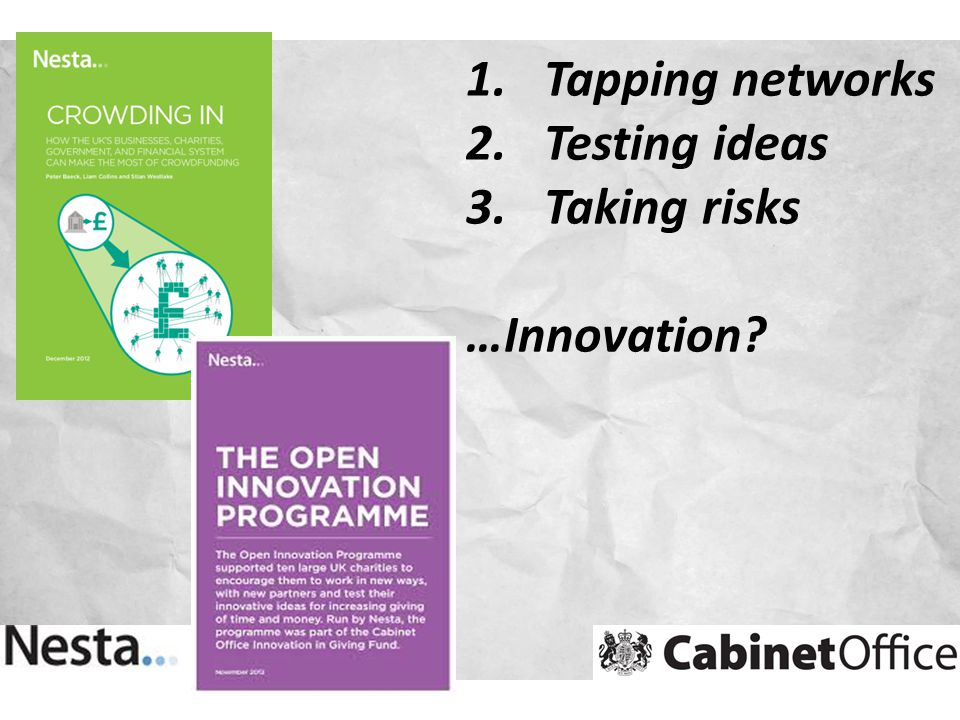 1.Tapping networks 2.Testing ideas 3.Taking risks …Innovation?