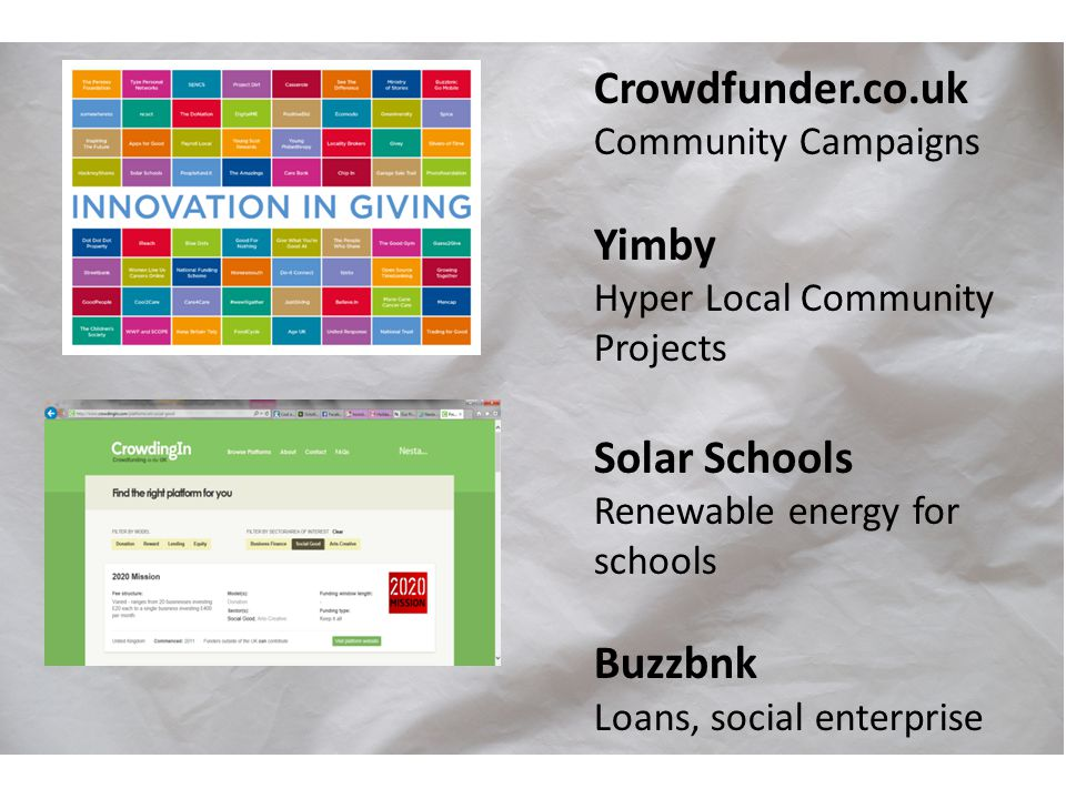 Crowdfunder.co.uk Community Campaigns Yimby Hyper Local Community Projects Solar Schools Renewable energy for schools Buzzbnk Loans, social enterprise
