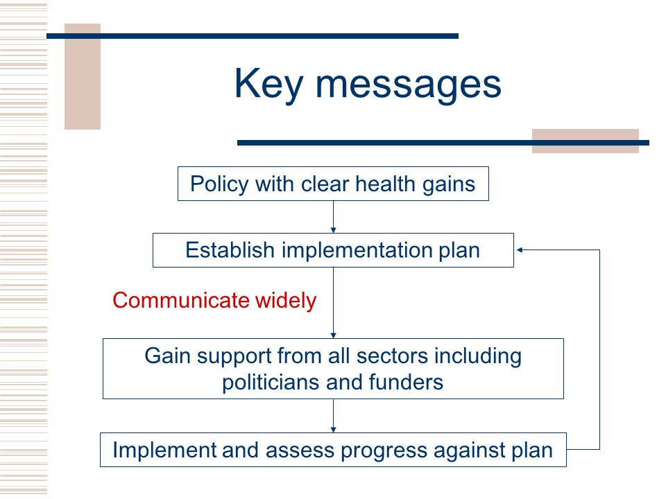 Key messages Policy with clear health gains Establish implementation plan Gain support from all sectors including politicians and funders Implement and assess progress against plan Communicate widely