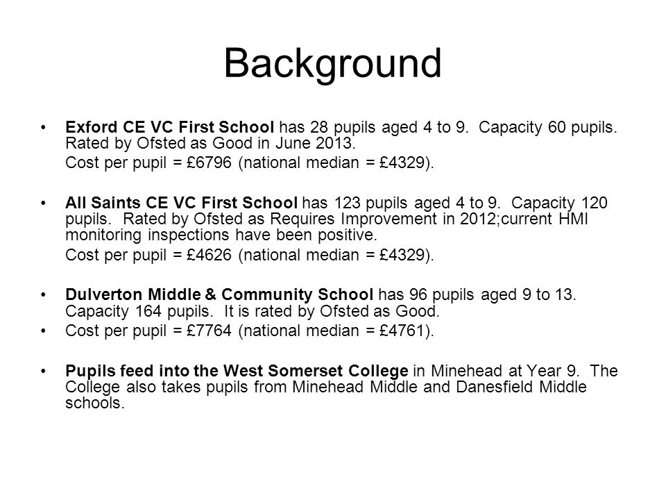 Background Exford CE VC First School has 28 pupils aged 4 to 9.