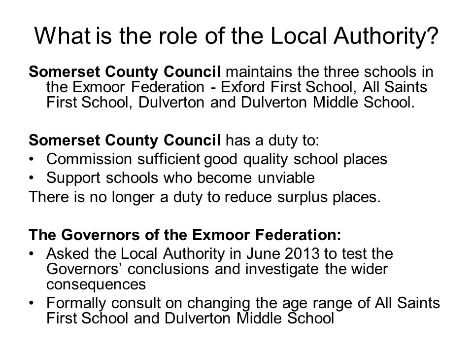 What is the role of the Local Authority.