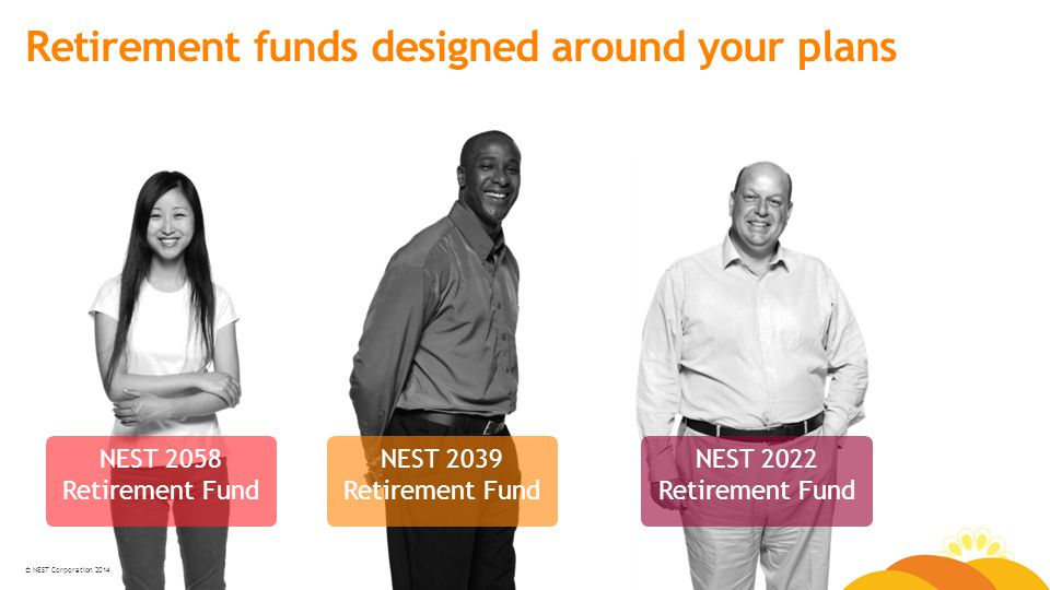 © NEST Corporation 2014 Retirement funds designed around your plans NEST 2058 Retirement Fund NEST 2039 Retirement Fund NEST 2022 Retirement Fund