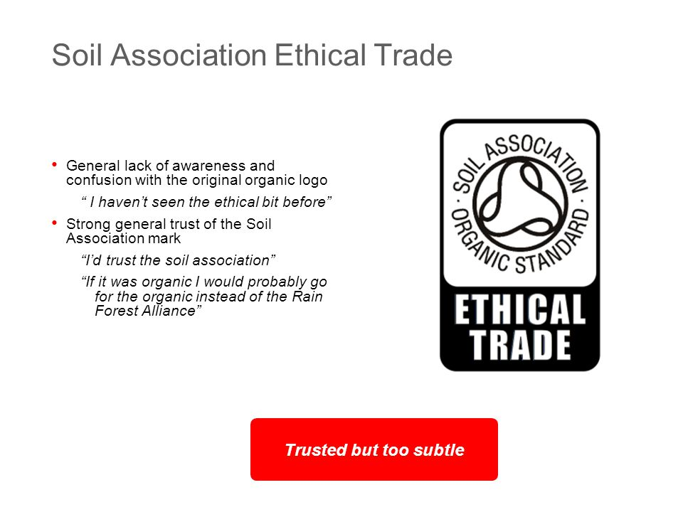 © Dragon 1 Craven Hill London W2 3EN +44 (0)20 7262 4488 15 Soil Association Ethical Trade General lack of awareness and confusion with the original organic logo I haven't seen the ethical bit before Strong general trust of the Soil Association mark I'd trust the soil association If it was organic I would probably go for the organic instead of the Rain Forest Alliance Trusted but too subtle