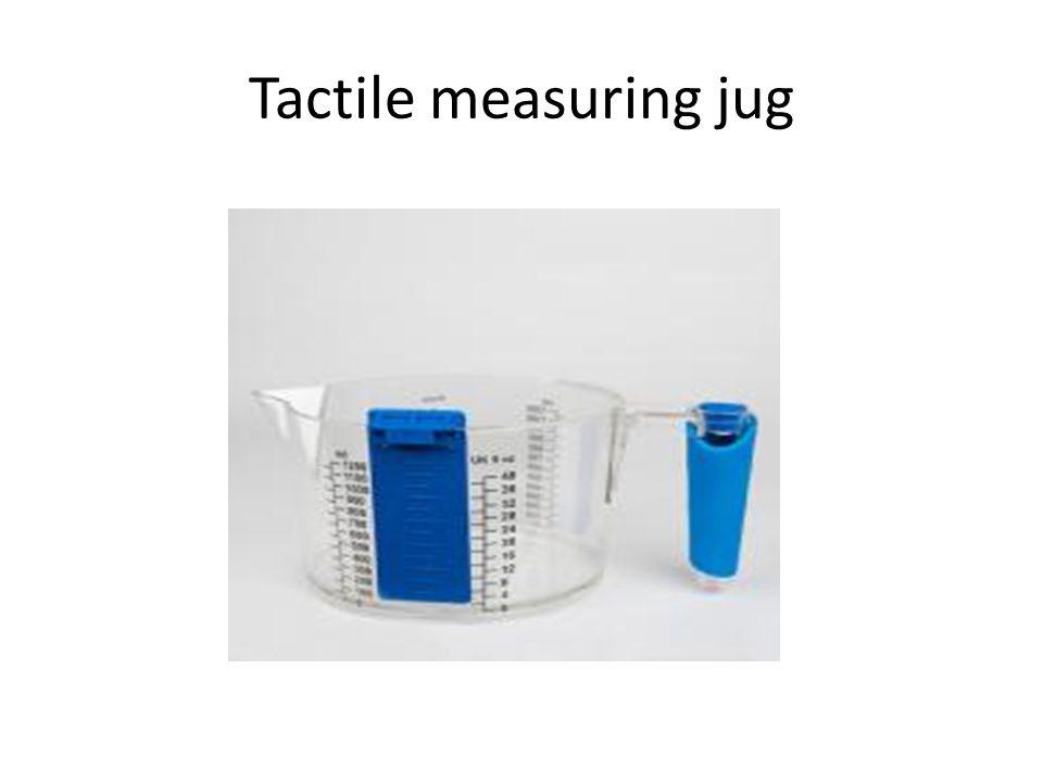 Tactile measuring jug