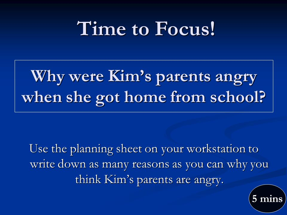 Why were Kim's parents angry when she got home from school.