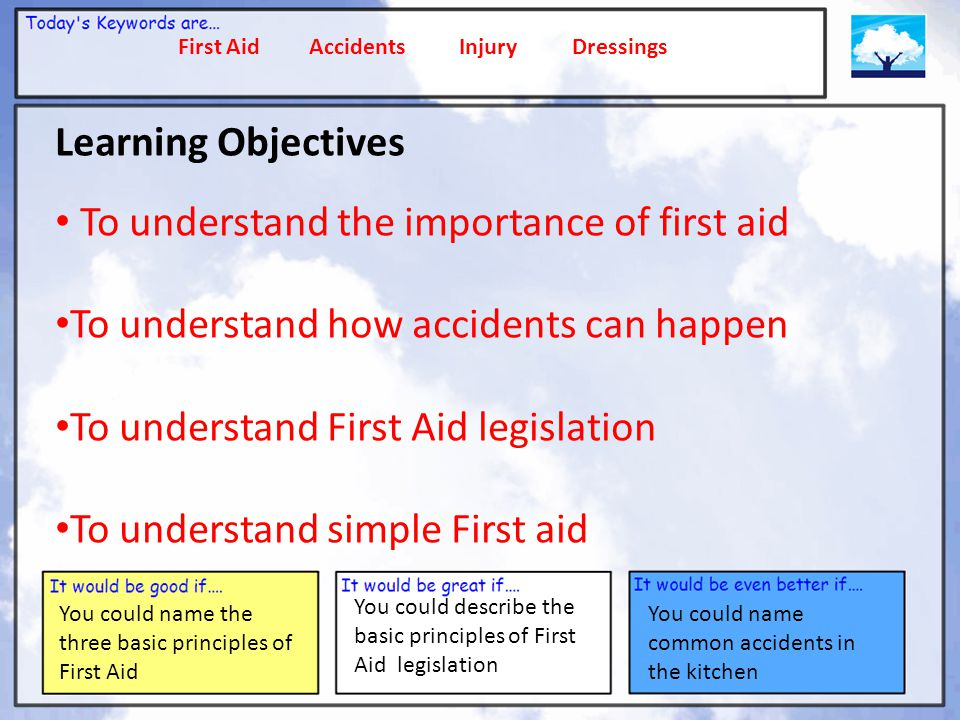 First Aid Accidents Injury Dressings You could describe the basic principles of First Aid legislation You could name common accidents in the kitchen FIRST AID Even in the most organised kitchens, accidents can happen, so it is important to know some basic First Aid First Aid has three basic steps To promote recovery To prevent injury To protect the patient Who can administer First Aid .