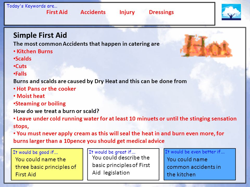 First Aid Accidents Injury Dressings You could name the three basic principles of First Aid You could describe the basic principles of First Aid legislation You could name common accidents in the kitchen Learning Outcomes You will know the importance of First Aid You will Know how accidents can happen in a kitchen You will know and understand first aid legislation You will know and understand simple first aid