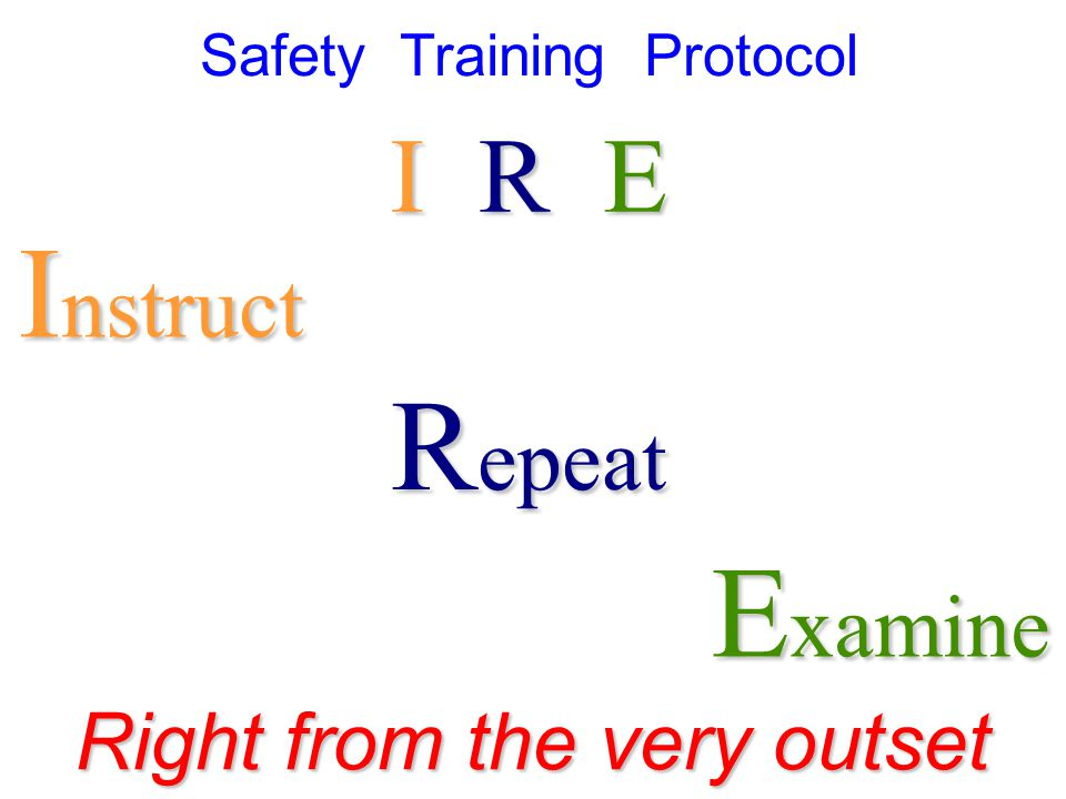 I nstruct R epeat E xamine Right from the very outset I R E Safety Training Protocol