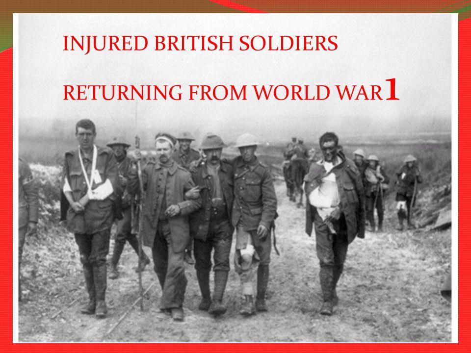 World war 1 the great war 4 INJURED BRITISH SOLDIERS RETURNING FROM WORLD WAR 1