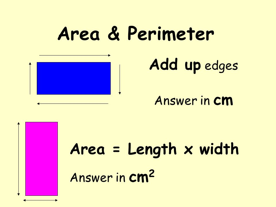 Area & Perimeter Add up edges Answer in cm Area = Length x width Answer in cm 2