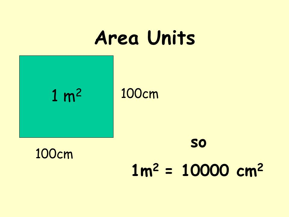 Area Units 100cm 1 m 2 100cm so 1m 2 = 10000 cm 2