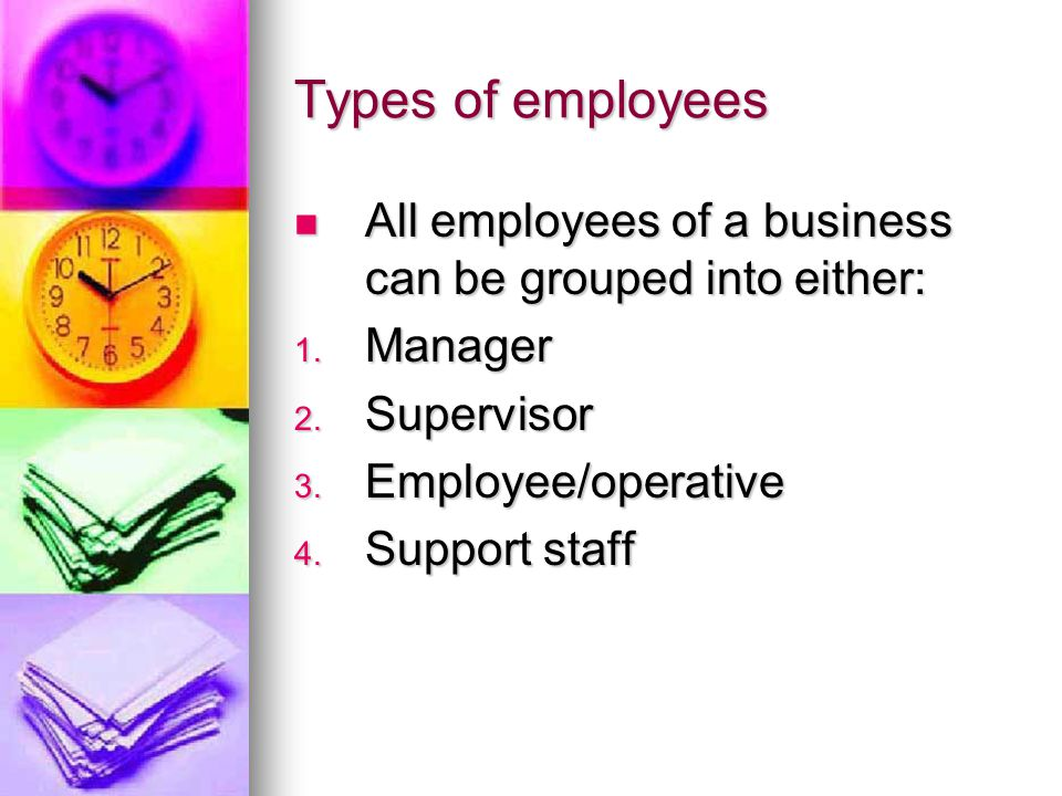 Types of employees All employees of a business can be grouped into either: All employees of a business can be grouped into either: 1.