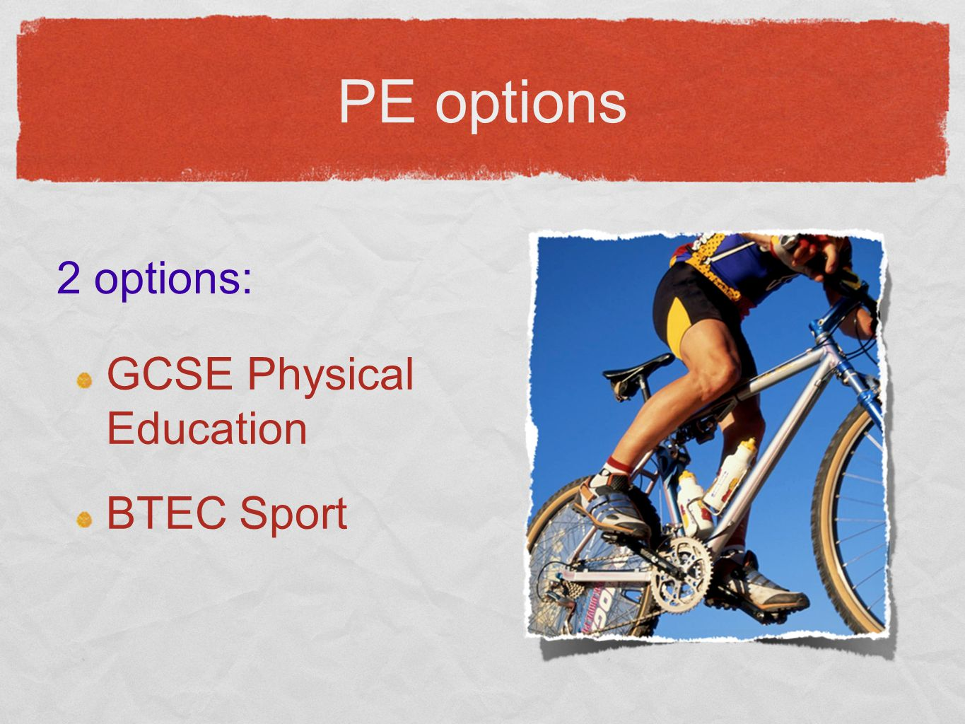 GCSE Physical Education BTEC Sport 2 options: