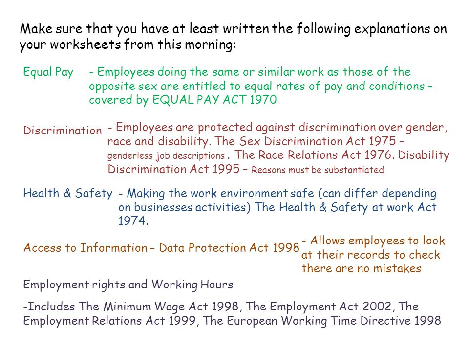 Make sure that you have at least written the following explanations on your worksheets from this morning: Equal Pay Discrimination Health & Safety Acc