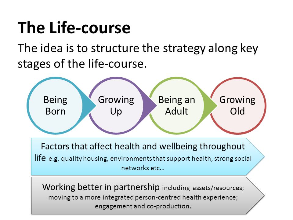 Growing Old Being an Adult Growing Up Being Born The Life-course The idea is to structure the strategy along key stages of the life-course.