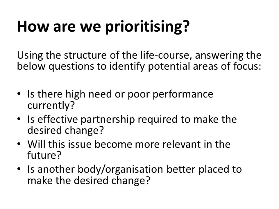 How are we prioritising.