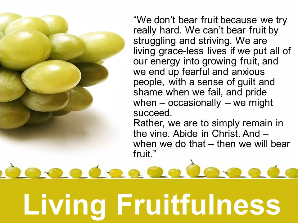 Living Fruitfulness We don't bear fruit because we try really hard.
