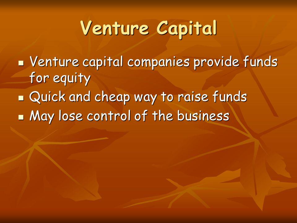 Venture Capital Venture capital companies provide funds for equity Venture capital companies provide funds for equity Quick and cheap way to raise fun