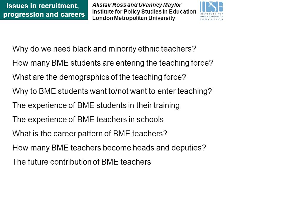 Why do we need black and minority ethnic teachers.