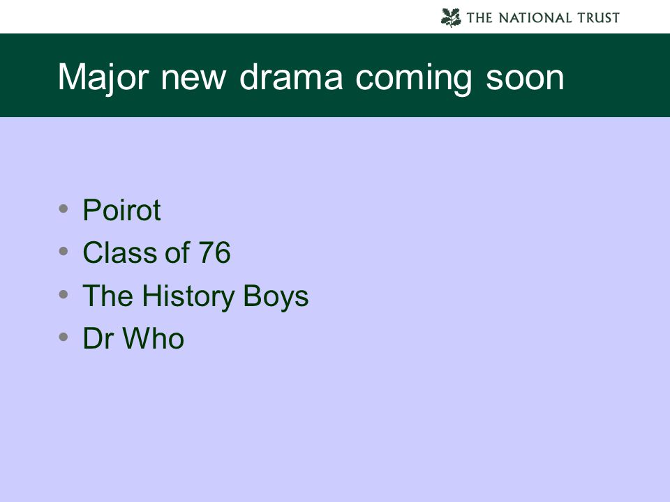 Major new drama coming soon Poirot Class of 76 The History Boys Dr Who