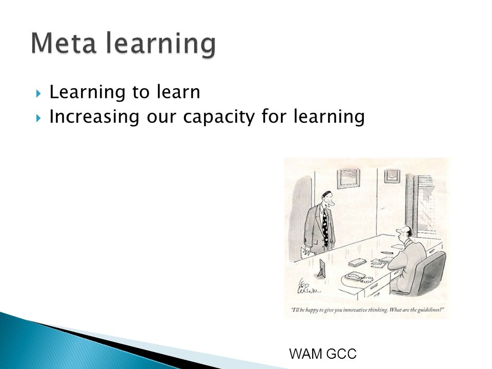  Learning to learn  Increasing our capacity for learning WAM GCC