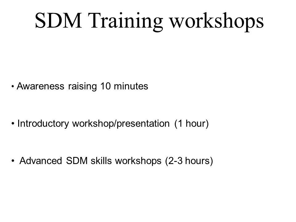SDM Training workshops Awareness raising 10 minutes Introductory workshop/presentation (1 hour) Advanced SDM skills workshops (2-3 hours)