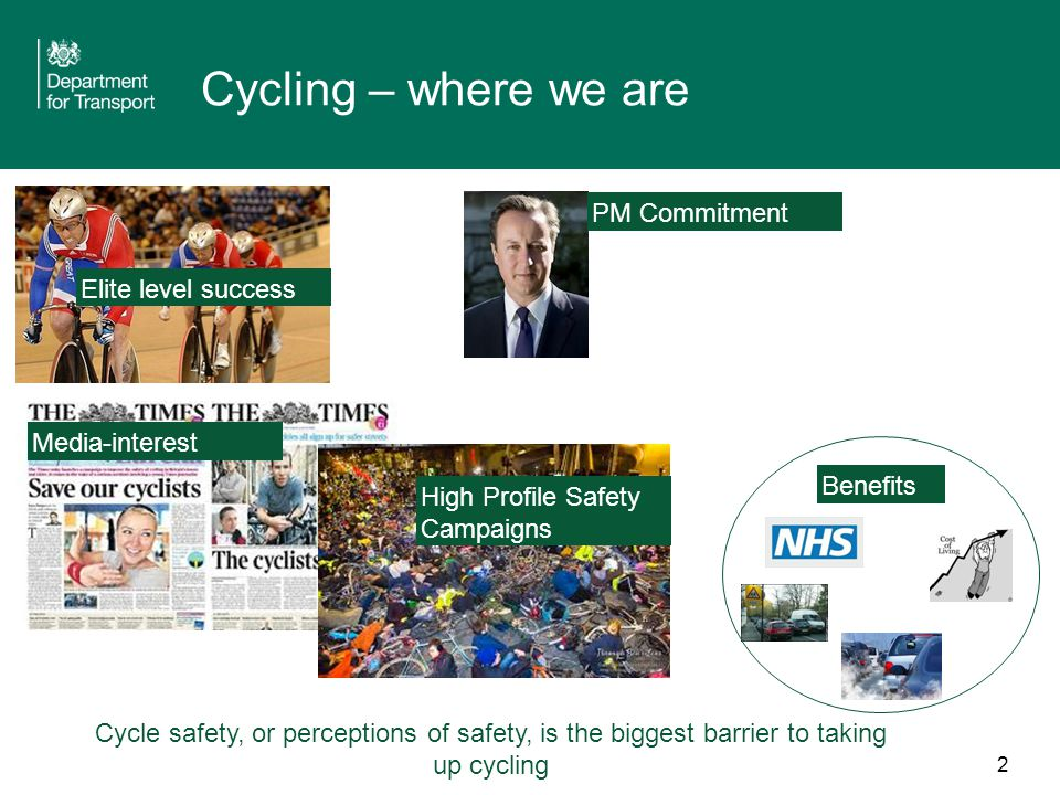 2 Cycling – where we are Elite level success PM Commitment Media-interest High Profile Safety Campaigns Benefits Cycle safety, or perceptions of safety, is the biggest barrier to taking up cycling