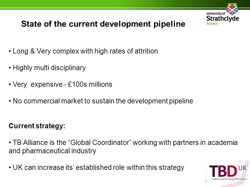 State of the current development pipeline Long & Very complex with high rates of attrition Highly multi disciplinary Very expensive - £100s millions No commercial market to sustain the development pipeline Current strategy: TB Alliance is the Global Coordinator working with partners in academia and pharmaceutical industry UK can increase its' established role within this strategy