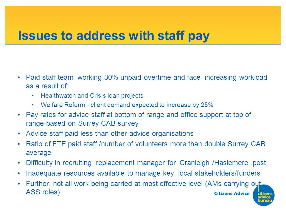 Issues to address with staff pay Paid staff team working 30% unpaid overtime and face increasing workload as a result of: Healthwatch and Crisis loan