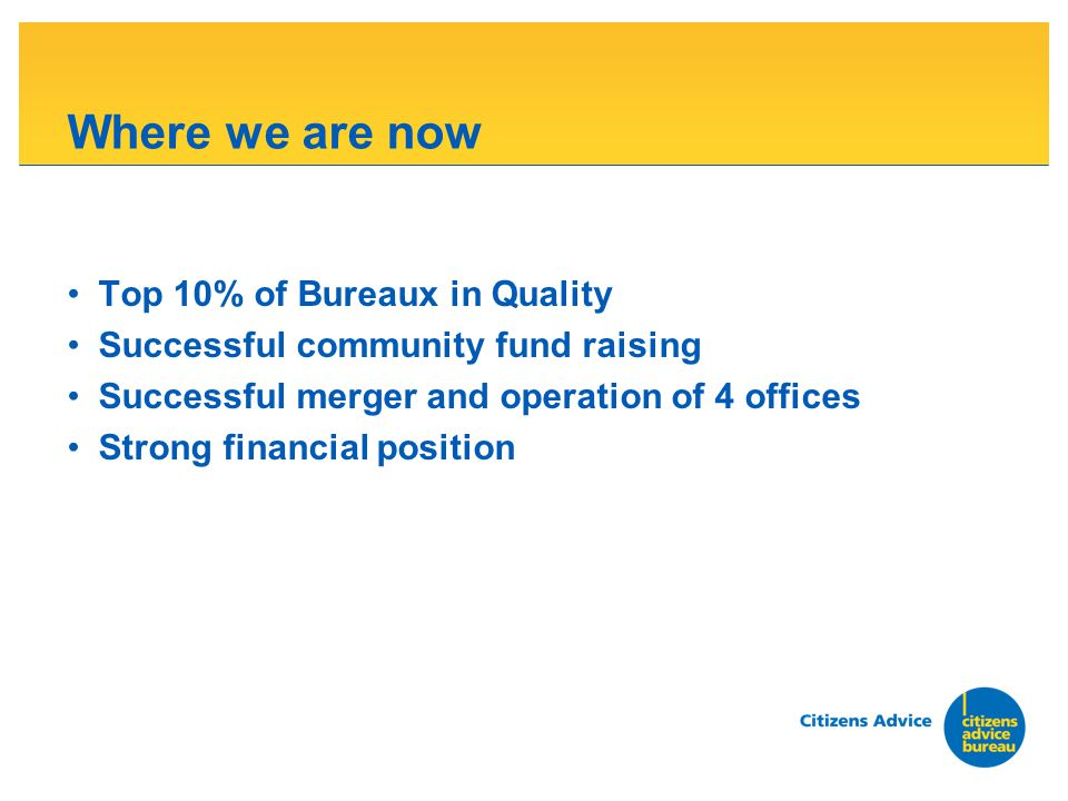 Where we are now Top 10% of Bureaux in Quality Successful community fund raising Successful merger and operation of 4 offices Strong financial positio
