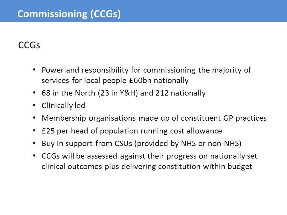 CCGs Power and responsibility for commissioning the majority of services for local people £60bn nationally 68 in the North (23 in Y&H) and 212 nationa