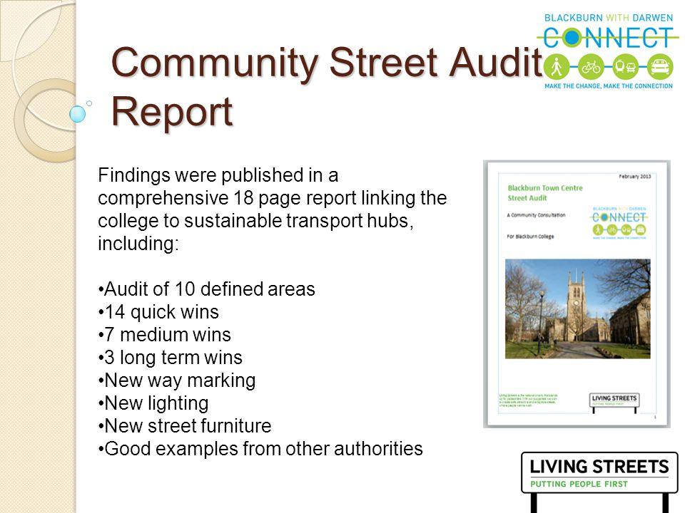 9 Community Street Audit Report Findings were published in a comprehensive 18 page report linking the college to sustainable transport hubs, including