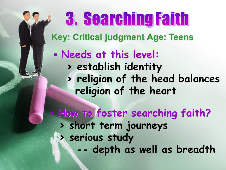 Key: Critical judgment Age: Teens Needs at this level:  Needs at this level: > establish identity > religion of the head balances religion of the hea