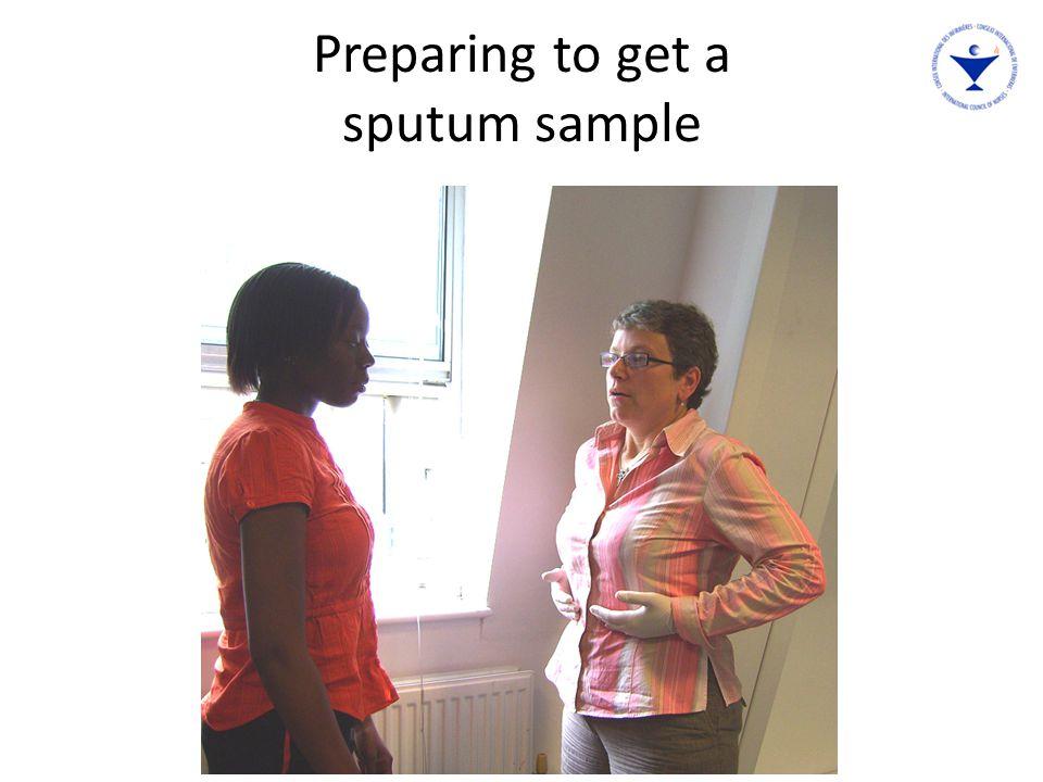 The nurse explains to Mercy why she needs a sputum sample