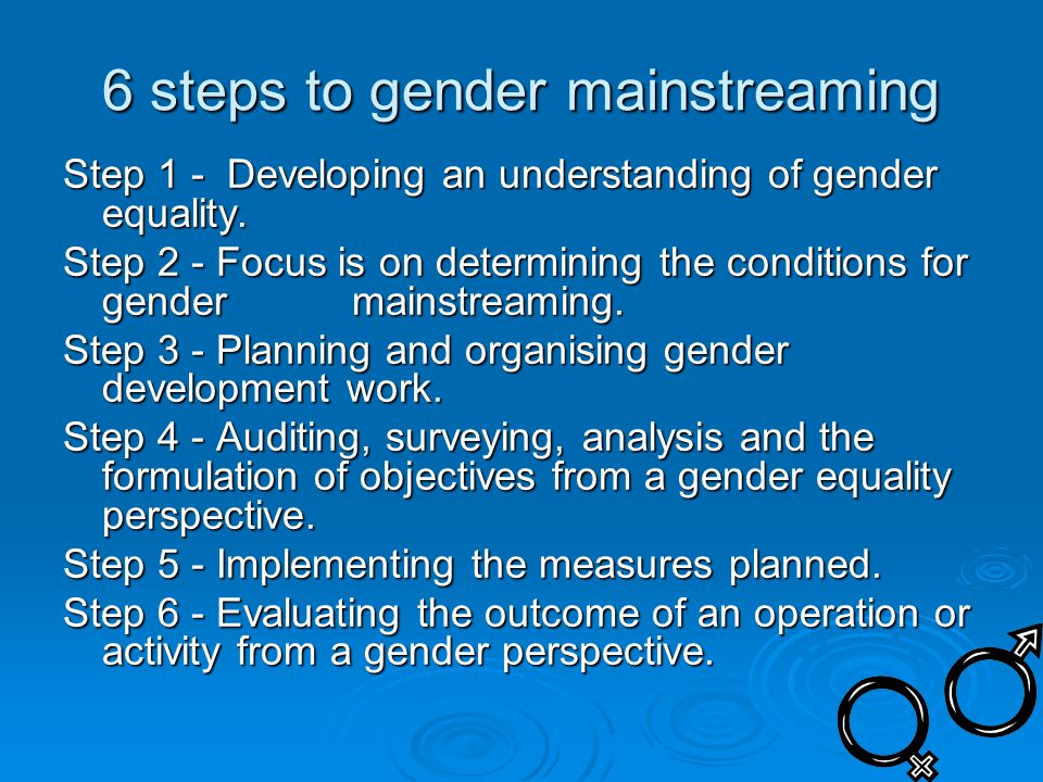 6 steps to gender mainstreaming Step 1 - Developing an understanding of gender equality.