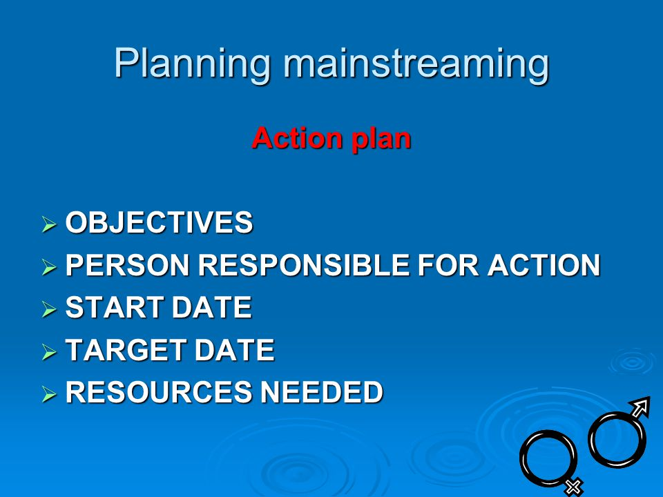 Planning mainstreaming Action plan  OBJECTIVES  PERSON RESPONSIBLE FOR ACTION  START DATE  TARGET DATE  RESOURCES NEEDED