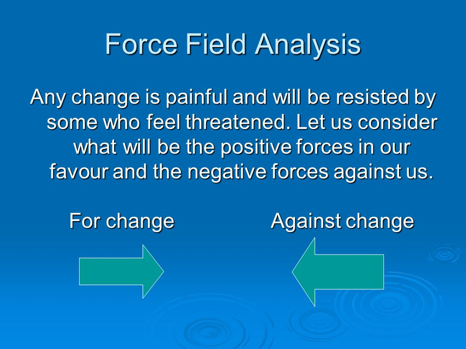 Force Field Analysis Any change is painful and will be resisted by some who feel threatened.